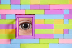 Brick wall with window and eye Stock Image