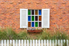 Brick wall with window Royalty Free Stock Image