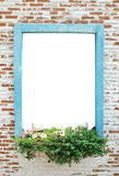 Brick wall or window outside the white background Stock Image