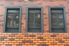Brick wall with windows, Architecture design, Interior building Royalty Free Stock Images