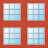 Brick Wall With Windows - Seamless Royalty Free Stock Images