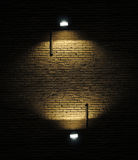 Brick Wall With Spotlights Stock Image