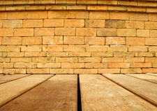 Brick wall and wood floor Stock Photos