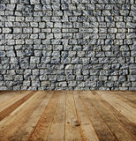 Brick wall, wood floor. Stock Photography