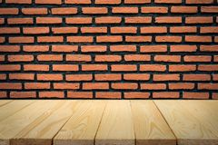 Brick wall and wood floor for background Royalty Free Stock Photography