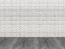 Brick wall and wood floor. 3d render Royalty Free Stock Image
