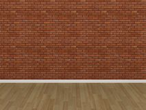 Brick wall and wood floor. 3d  render Royalty Free Stock Photos