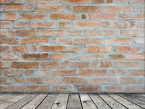 Brick wall on wood floor Room Royalty Free Stock Photo