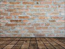 Brick wall on wood floor Room Royalty Free Stock Images