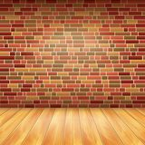 Brick wall and wood floor, vector background Royalty Free Stock Photography