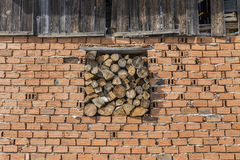 Brick wall with wood Stock Image