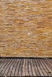 Brick wall and wood panel decorated Stock Image