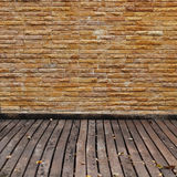Brick wall and wood panel decorated Stock Photography