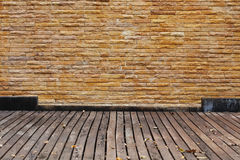Brick wall and wood panel Royalty Free Stock Photography