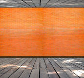 Brick wall in wood Room interior modern style Stock Photo