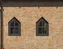 Brick wall and wood window Royalty Free Stock Images