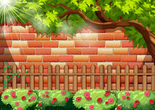 Brick wall and wooden fence. Illustration Stock Images