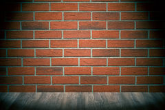 Brick wall and wooden floor Royalty Free Stock Photos