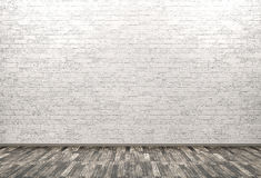 Brick wall, wooden floor background 3d render Royalty Free Stock Image