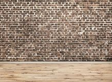 brick wall and wooden floor stock image