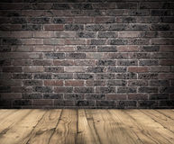 Brick wall and wooden floor. Stock Image