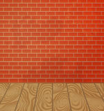 Brick wall and wooden floor interior Royalty Free Stock Images