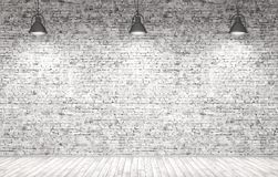 Brick wall, wooden floor and lamps background 3d render. Interior background of a room with brick wall, wooden floor and lamps 3d render royalty free illustration