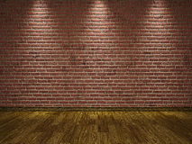 Brick wall and wooden floor Stock Photo