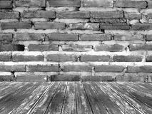 Brick wall and wooden room grey background Stock Photography