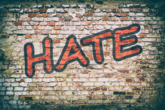 Brick wall with word hate graffiti. Royalty Free Stock Image