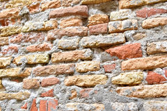 Brick wall is worn and textured by weather Royalty Free Stock Photography