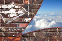 Brick wall with zipper and blue sky Royalty Free Stock Image