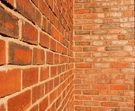 Brick Walls. Intersecting brick walls at a right angle stock photography
