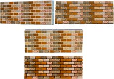 Brick walls. With different color mortar in 3d and 2d perspectives Stock Photos
