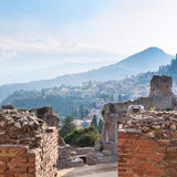 Brick walls of ancient Teatro Greco in Taormina Royalty Free Stock Image