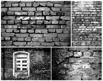 Brick walls.Black and white collage. Royalty Free Stock Image
