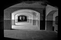 Brick walls and halls at historic Fort Point Stock Photos