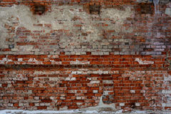 Brick walls, old wall with crumbling plaster, texture, background Stock Images