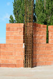 Brick walls with  tie-columns Stock Photo
