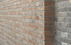 Brick walls. Two walls with a depth of a brick staggered  as background Royalty Free Stock Photos