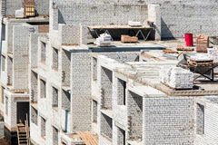Brick walls of unfinished construction. Of a residential house Royalty Free Stock Photos