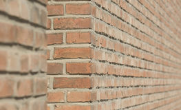 Brick walls. View in depth of brick walls in sunshine as backgrounds Royalty Free Stock Photo