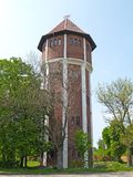 Brick water tower of the German construction. Settlement Amber, Kaliningrad region.  Royalty Free Stock Photo