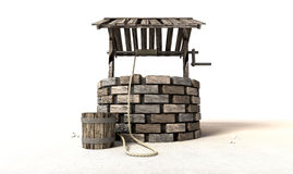 Wishing Well With Wooden Bucket And Rope Stock Photos