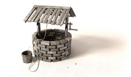 Wishing Well With Wooden Bucket And Rope Stock Photo
