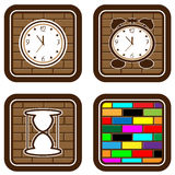Brick web buttons with icons of time Stock Photo