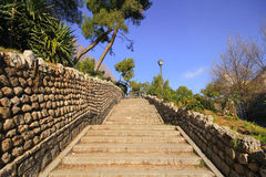 Stairs to Rosales Park with stone wall Royalty Free Stock Photo