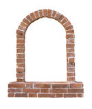 Brick window as a frame, isolated on background Royalty Free Stock Photo
