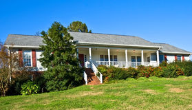 Brick and Wood Ranch Style Home Royalty Free Stock Photo