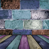 Brick and wooden interior Royalty Free Stock Photo